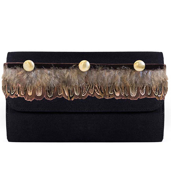 Avery Clutch - Feather Band - Sample - Final Sale