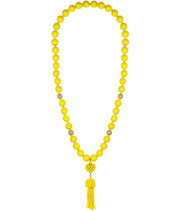 Beaded Tassel Necklace - Yellow (FINAL SALE)