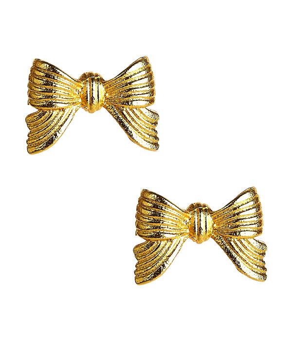 Metal Bow Stud - Gold