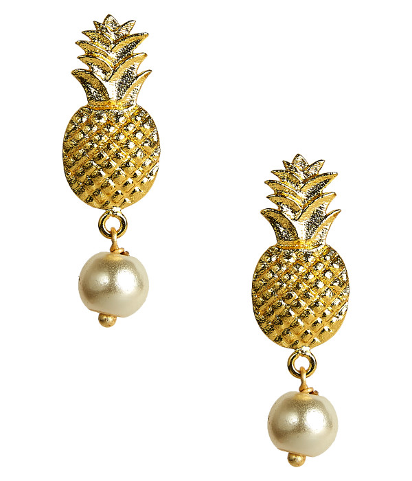 Pineapple Pearl Drop Stud - Gold
