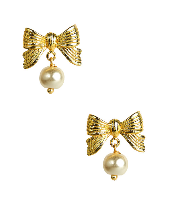 Metal Bow Pearl Drop Stud - Gold