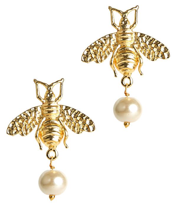 Bee Pearl Drop Stud - Gold
