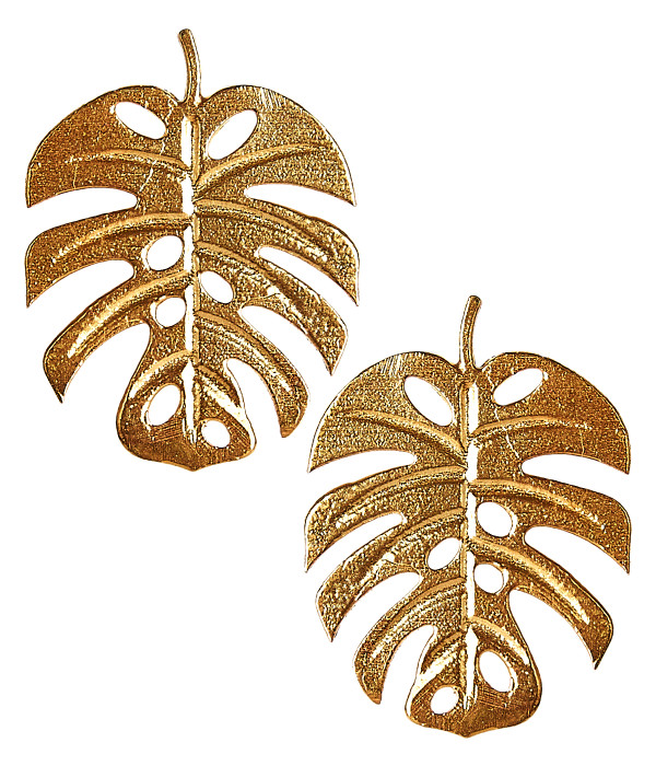 Palm Leaf Stud - Gold