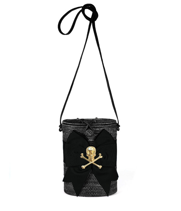Julie Black - Black Fluffy Bow with Skull SAMPLE FINAL SALE