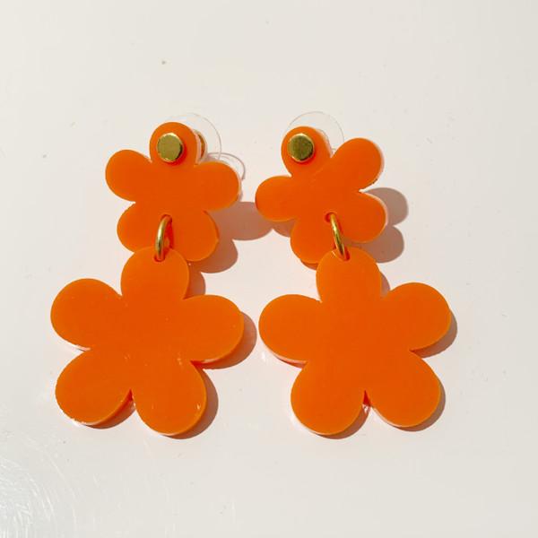 Acrylic Orange Flower Earrings - ( sample-final sale)
