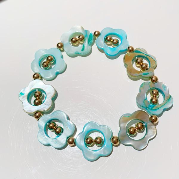 XL Size Resin Floral Bracelet - Turquoise (sample-final sale)