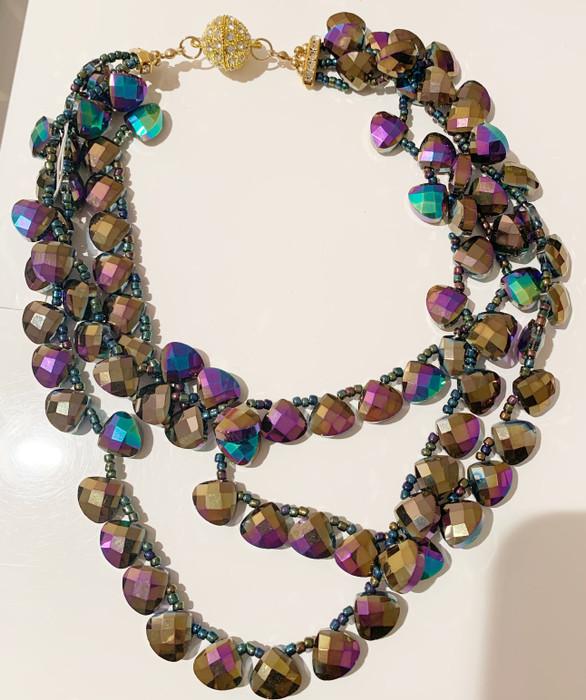 XS Mardi Gras Triple Necklace - (sample-final sale)