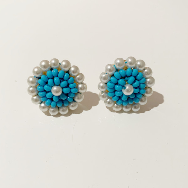 Turquoise Button Earrings - (sample-final sale)