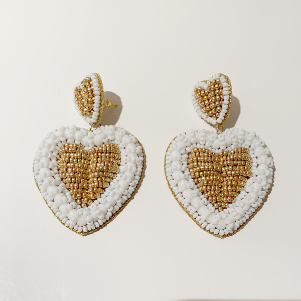 Heart Earrings - White (sample-final sale)