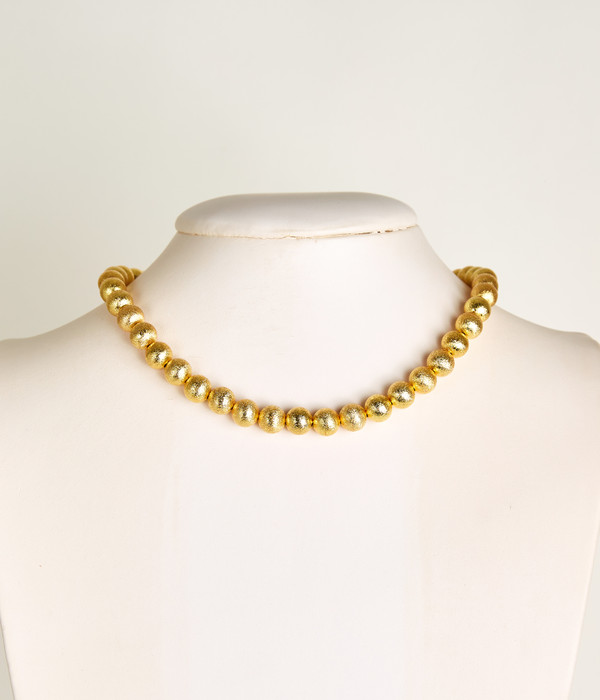 Diana Single Strand Beaded Necklace - Brushed Gold