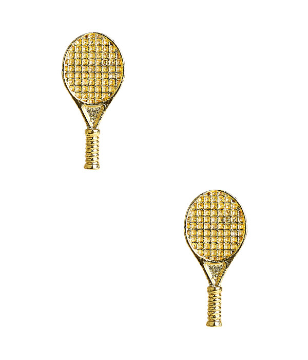 Single Tennis Racket Stud - Gold