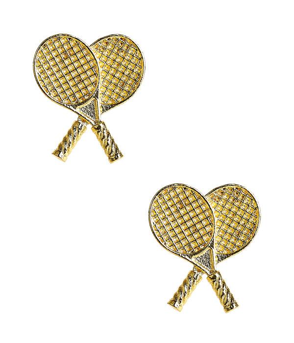 Double Tennis Racket Stud - Gold