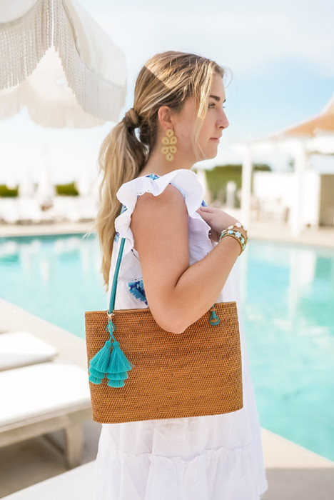 Charlotte Large - Turquoise Handles - Turquoise Layered Tassel