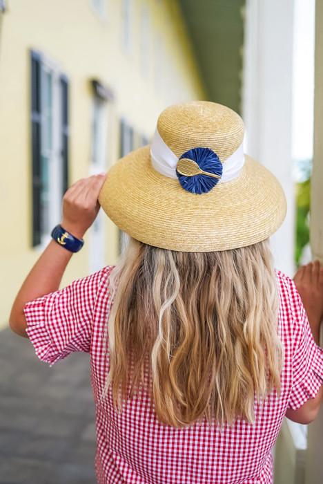 Lauren Hat - White Flat Bow with Navy Raffia Round with Tennis Racket