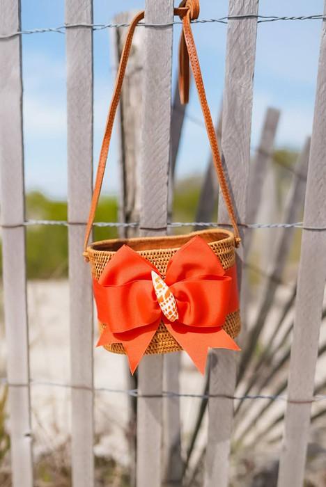 Charlotte Small - Orange Mango Fluffy Bow - Orange Seashell