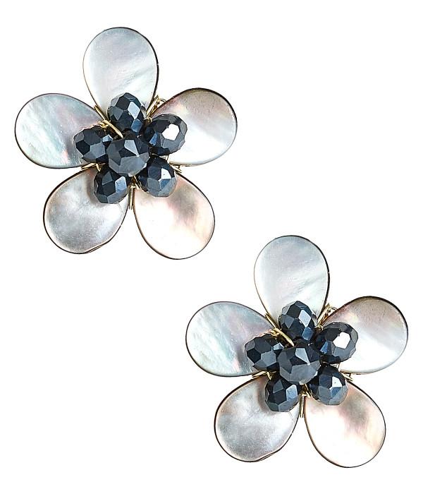 Libby Earrings - Black Mother of Pearl