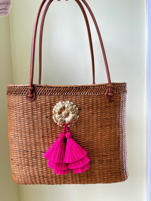 Olivia Large - Blossom with Hot Pink Tassel