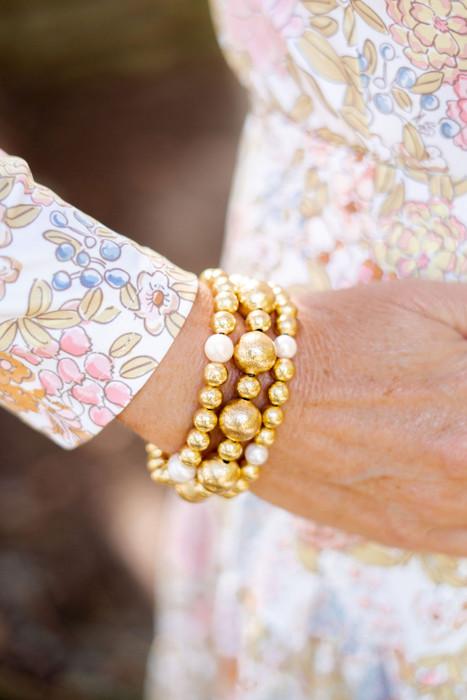Georgia - Gold  & Freshwater Pearl Beaded Bracelet