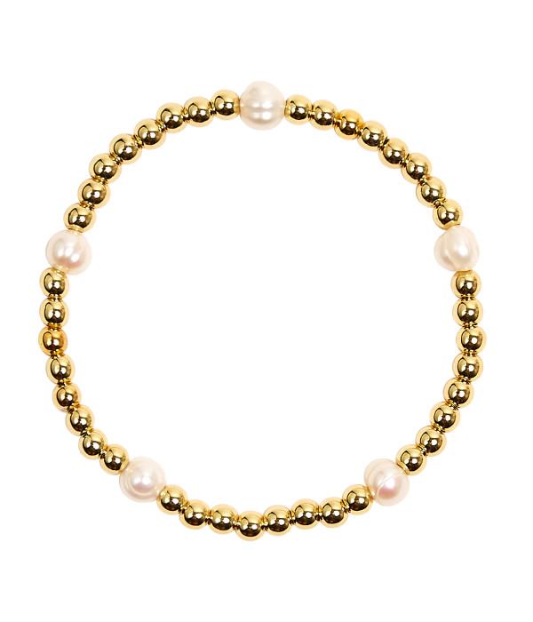 Scout - Gold & Pearl Beaded Bracelet