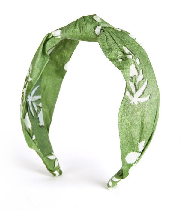 Block Print - Headband Willow Green