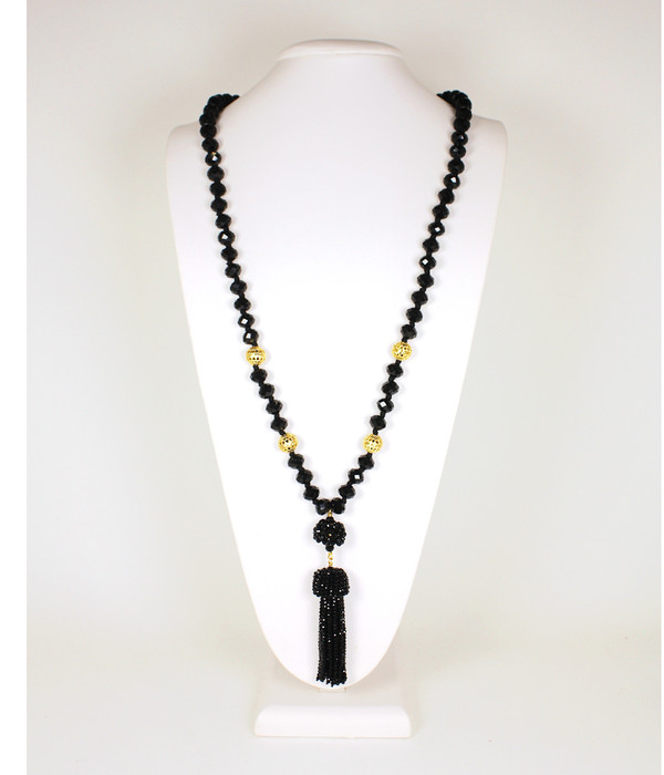 Beaded Tassel Necklace - Czech Black