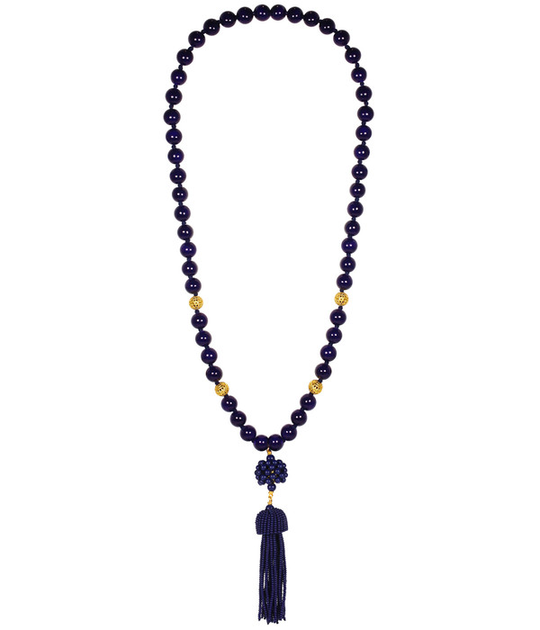 Beaded Tassel Necklace - Navy