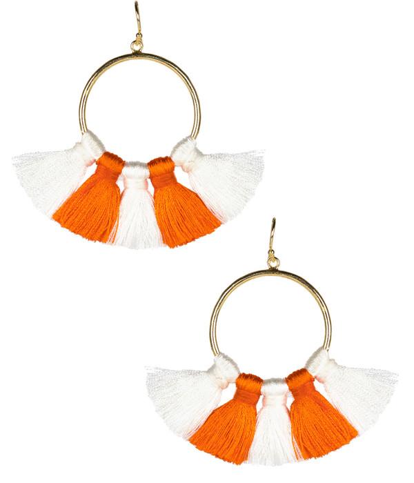 Izzy Gameday Earrings - White & Orange