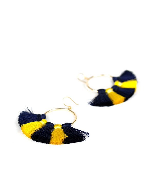 Izzy Gameday Earrings - Navy & Yellow