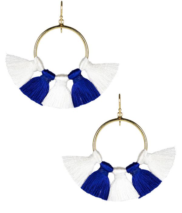 Izzy Gameday Earrings - White & Royal