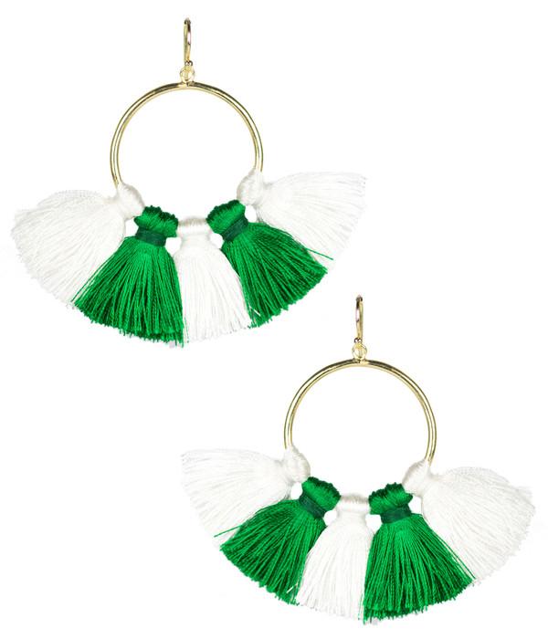 Izzy Gameday Earrings - White & Emerald