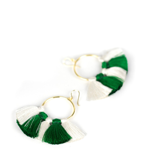 Izzy Gameday Earrings - White & Emerald
