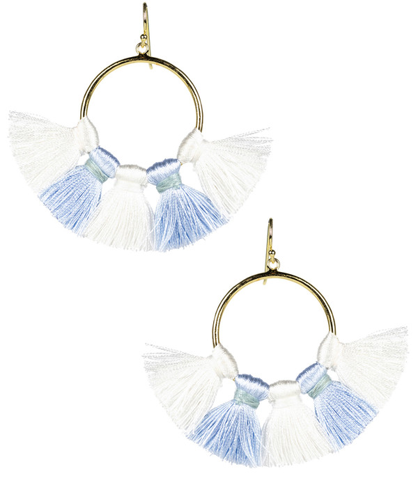 Izzy Gameday Earrings - Carolina Blue & White
