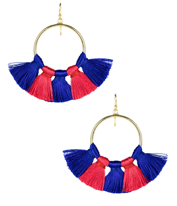 Izzy Gameday Earrings - Royal & Red (FINAL SALE)