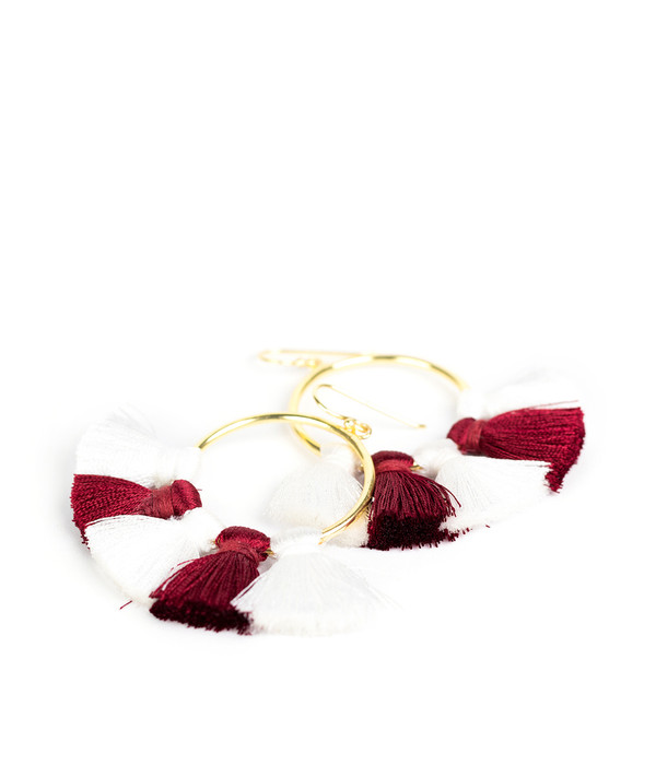 Izzy Gameday Earrings - White & Burgundy
