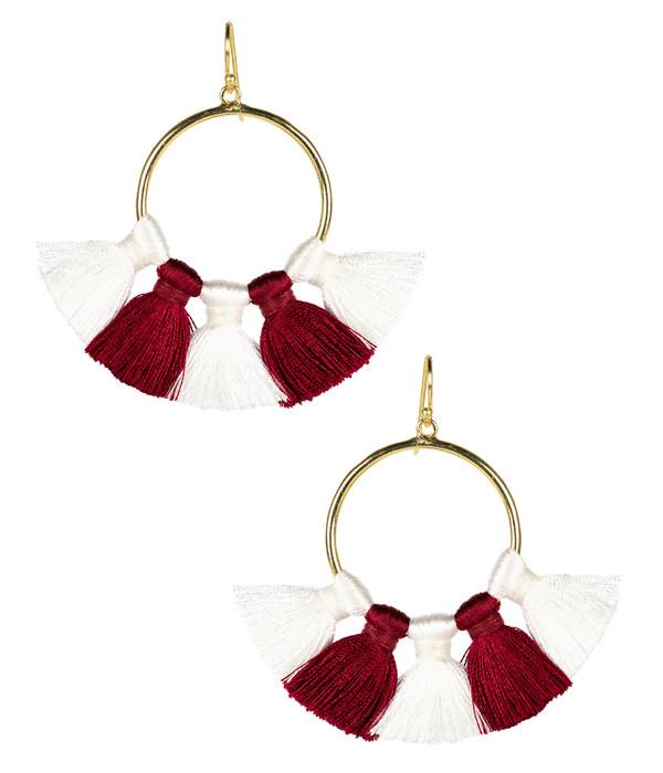 Izzy Gameday Earrings - White & Burgundy