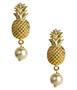 Pineapple Pearl Drop Stud - Gold