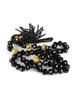 Beaded Tassel Necklace - Czech Black