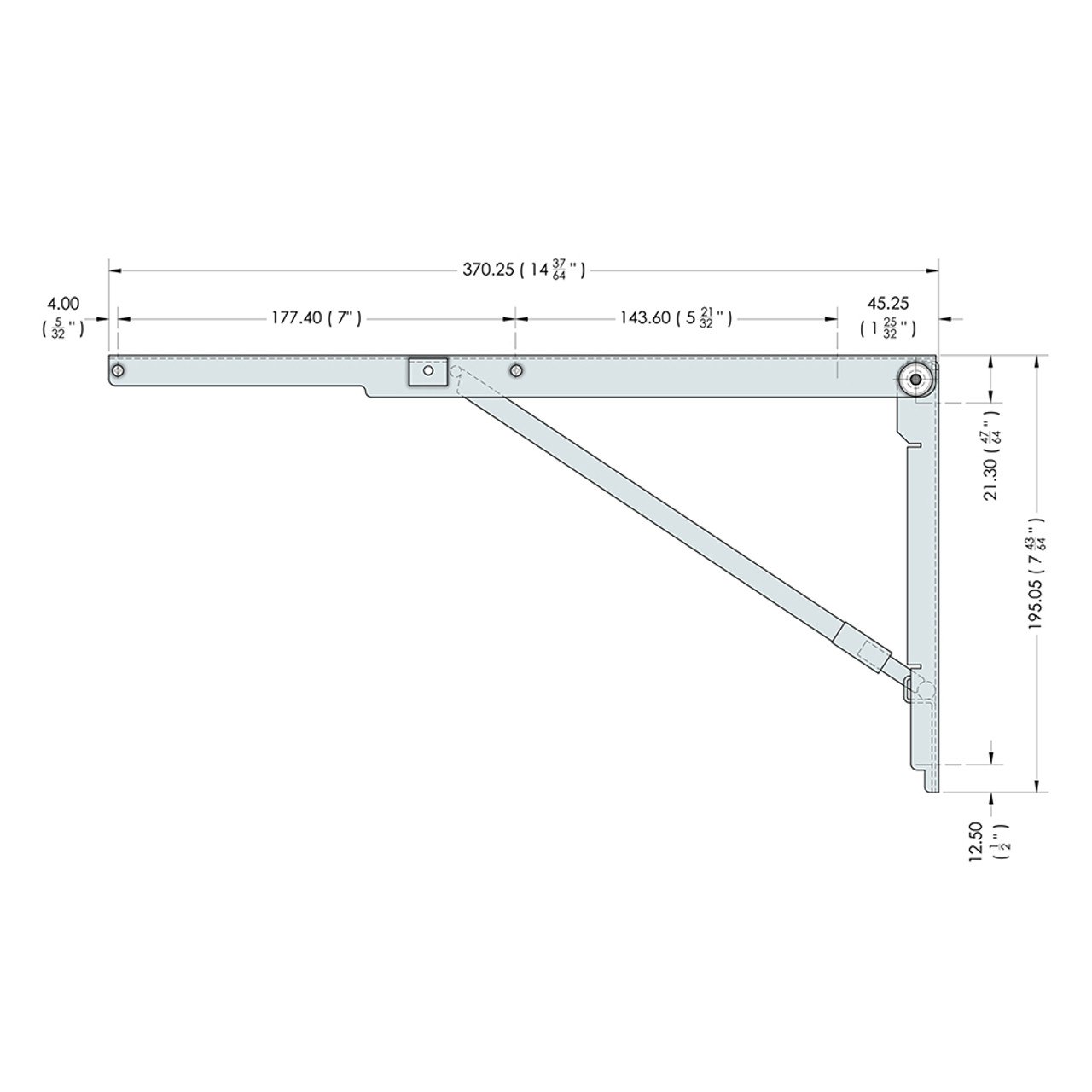 Side drawing of the 14.5 inch wall mounted folding brackets with dimensions