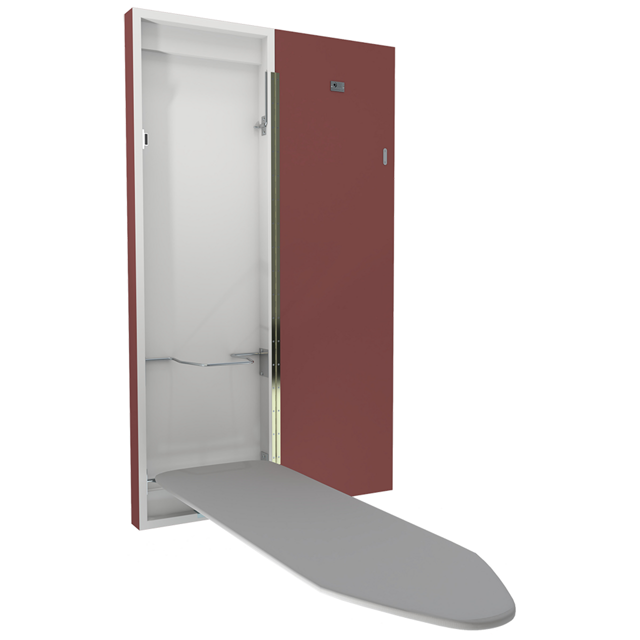 Red painted coloured deluxe ironing board with the door open and board folded down