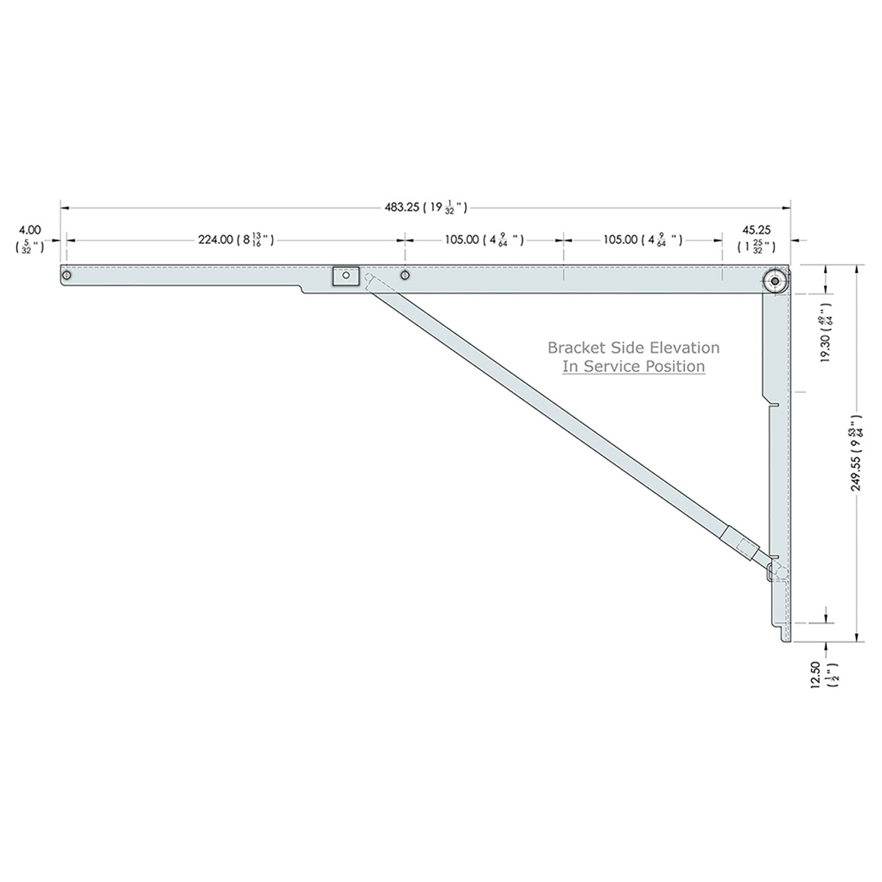 Side drawing of the 19 inch wall mounted folding brackets with dimensions
