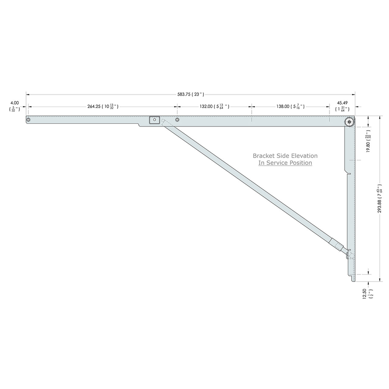 Side drawing of the 23 inch wall mounted folding brackets with dimensions