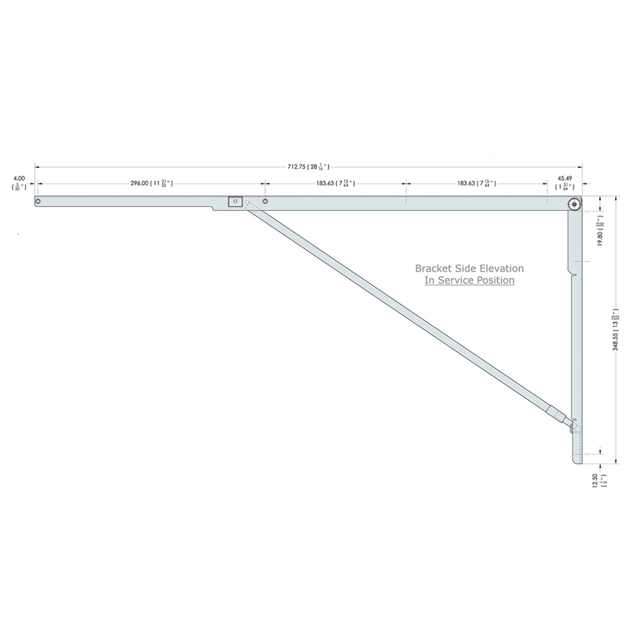 Side drawing of the 28 inch wall mounted folding brackets with dimensions