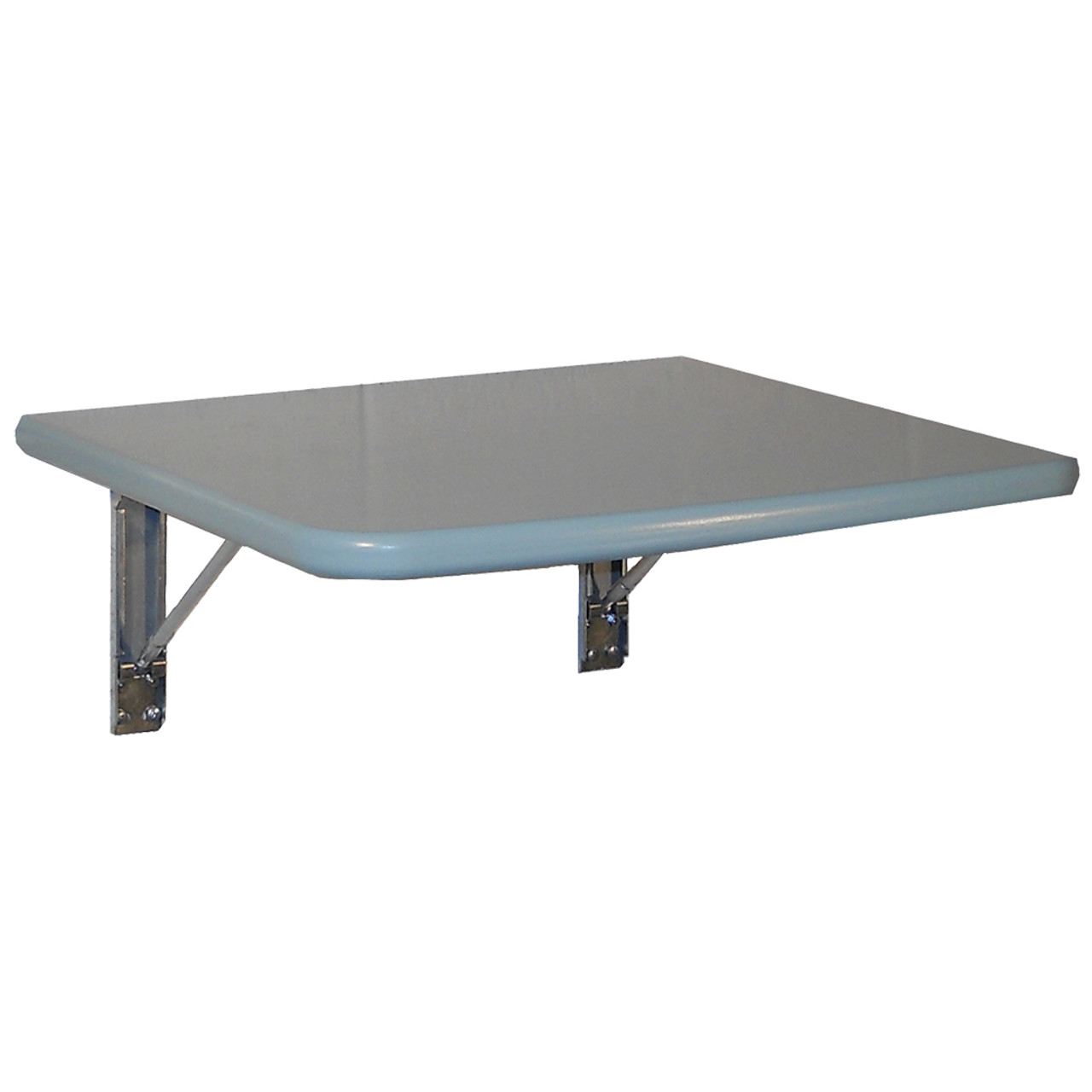 Blue painted wall folding table with a pair of our FDP brackets attached