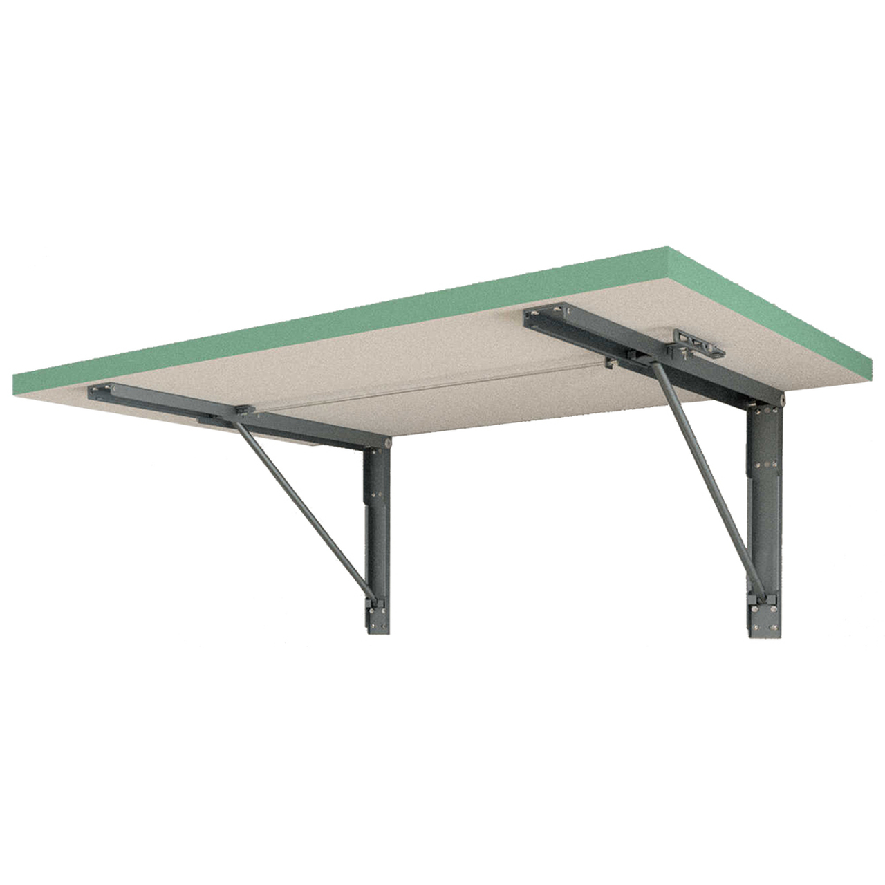 Dusty Jade Green formica folding table with a pair of our FDP brackets attached