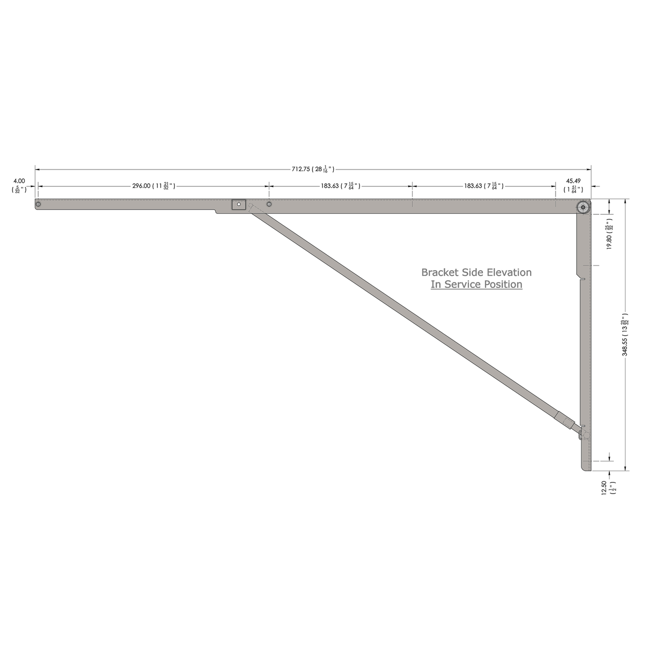 Side drawing of the stainless steel 28 inch wall mounted folding brackets with dimensions
