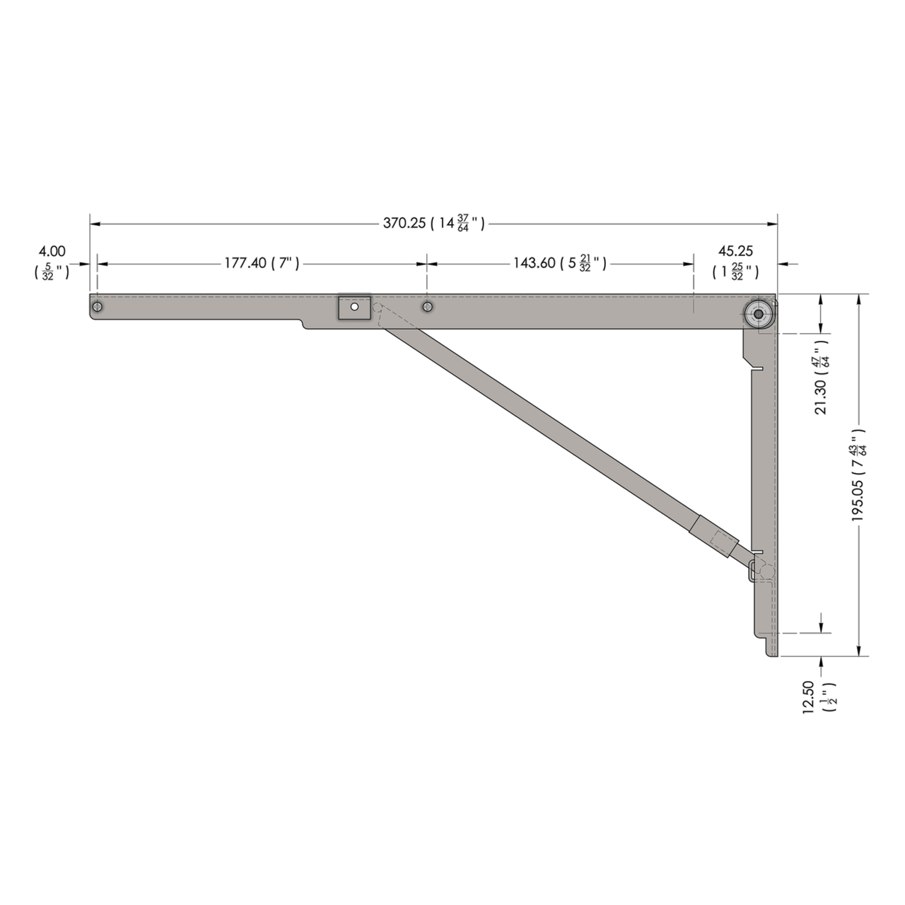 Side drawing of the stainless steel 14.5 inch wall mounted folding brackets with dimensions