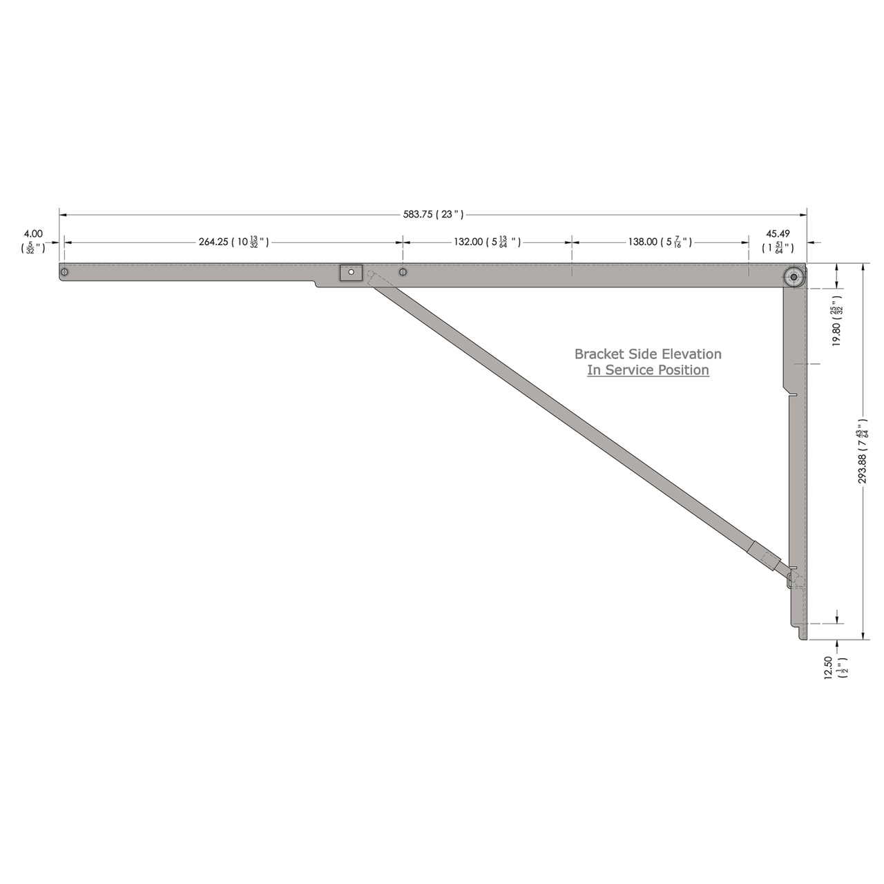 Side drawing of the stainless steel 23 inch wall mounted folding brackets with dimensions