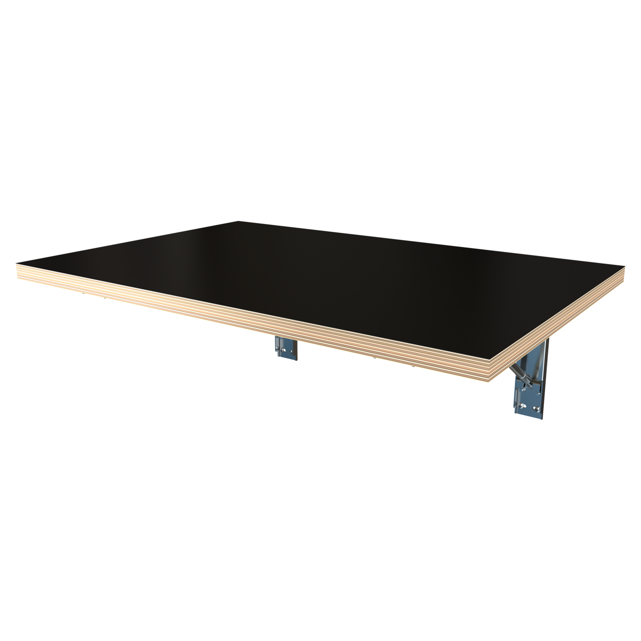 Black decorply wall folding table with a pair of our FDP brackets attached