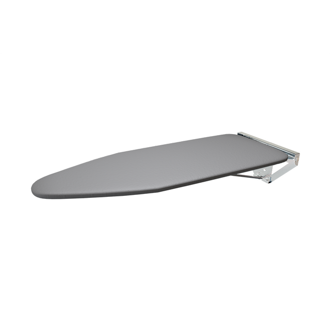 Silver backplate compact wall mounted ironing board with silver metallic cotton ironing cover