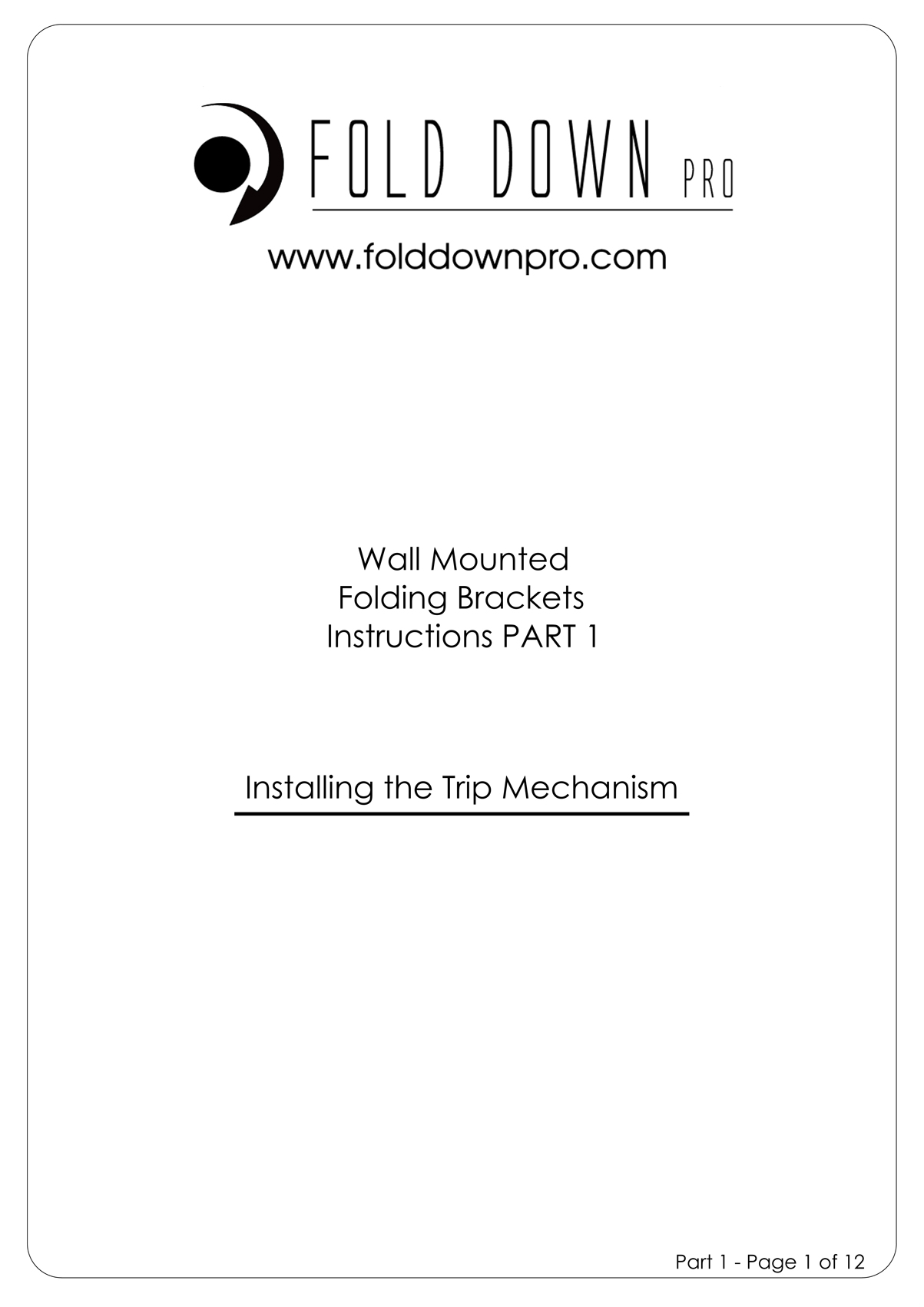 FDP Wall Mounted Folding Bracket Instruction Page 1